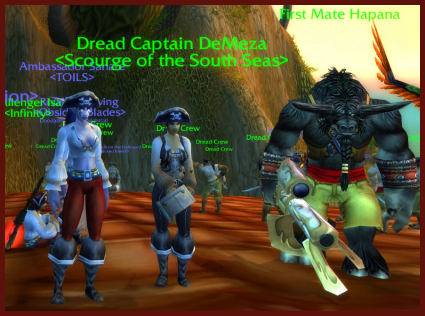 I meet up with the Dread Captain and her First Mate. The grog is flowing freely by now.